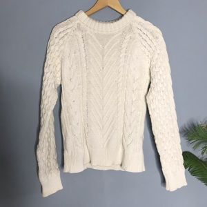 Zara Knit White Thick Cable small Pullover Sweater
